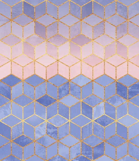 """Rose Quartz & Serenity Cubes"" Art Print by Elisabeth Fredriksson on Society6 #pattern"
