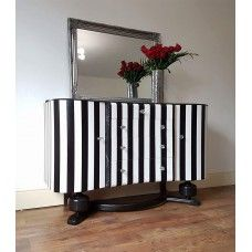 Black and White Striped Sideboard