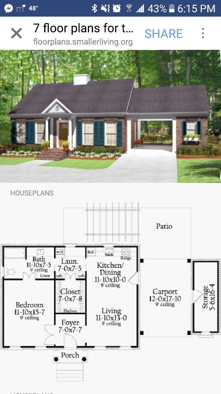 Would Like Something Similar With The Carport And Storage But Would Need 2 Bedrooms And Office House Plans Tiny House Plans Small House Plans