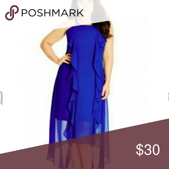BNWT GORGEOUS CITY CHIC HIGH LOW DRESS BNWT City Chic maxi dress. Stunning royal blue. Fully lined. Ruffles down the front add an ultra girly vibe! City chic xxl=24. City Chic Dresses High Low
