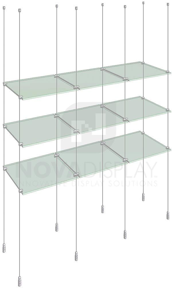 Cable Suspended Glass Shelving Kit Ksi 011 Glass Display Shelves Glass Shelves Decor Floating Glass Shelves