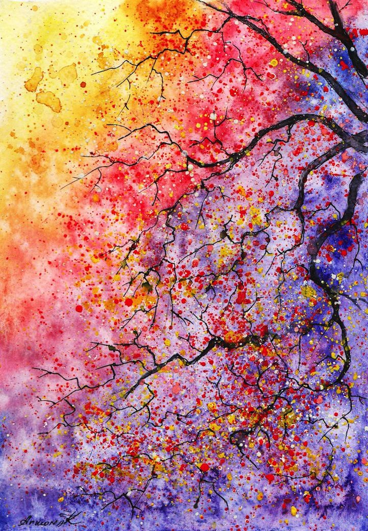 Colorful Watercolor Paintings of Radiant Trees in Nature by Anna Armona - My Modern Metropolis