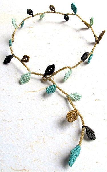 Macrame leaves necklace - micro macrame leaves - macrame necklace - boho - multi porpouse necklace- hippie