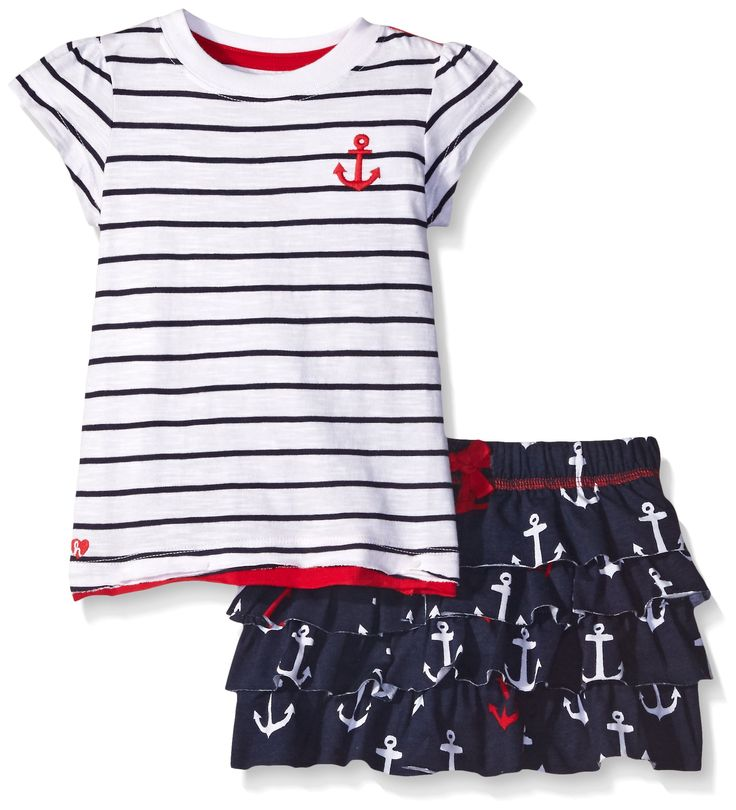 Hatley Little Girls' Toddler Nautical Anchors Skirt Playset, White, 2T. Machine washable. Skirt and top set. 100 percent cotton.