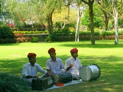 Folk musicians in Samode Bagh, Rajasthan India