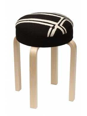 Judy Ross Textiles : collaboration with Artek to upholster this iconic stool in our chain stitch fabric. Shown in black/cream #artek #judyrosstextiles #stool