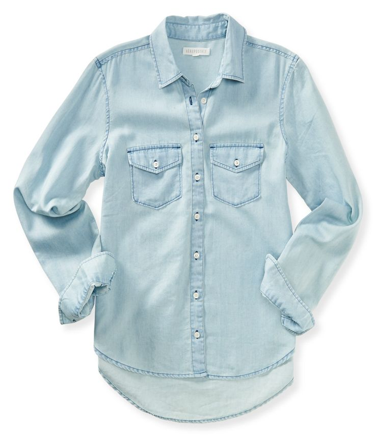Long Sleeve Chambray Woven Shirt - Aeropostale
