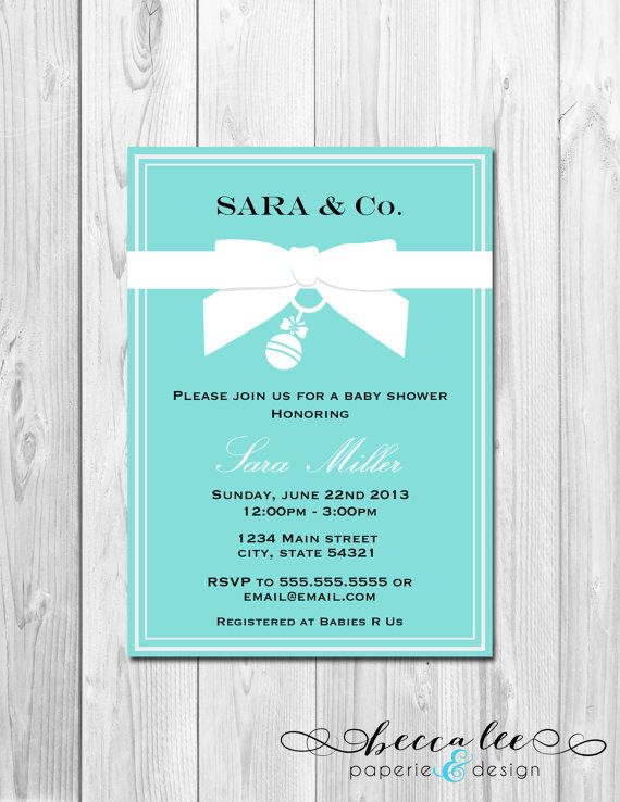 Baby Shower Invitation Tiffany Co Inspired Diy Printable On