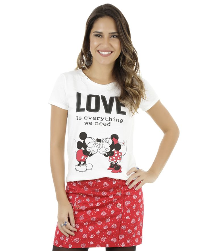 Blusa Mickey & Minnie Off White - cea
