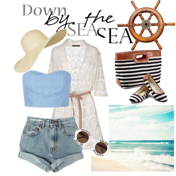 Sea Side by monicamaria-1 on Polyvore featuring Les Copains, Julien David, Levi's, Topshop and Wildfox