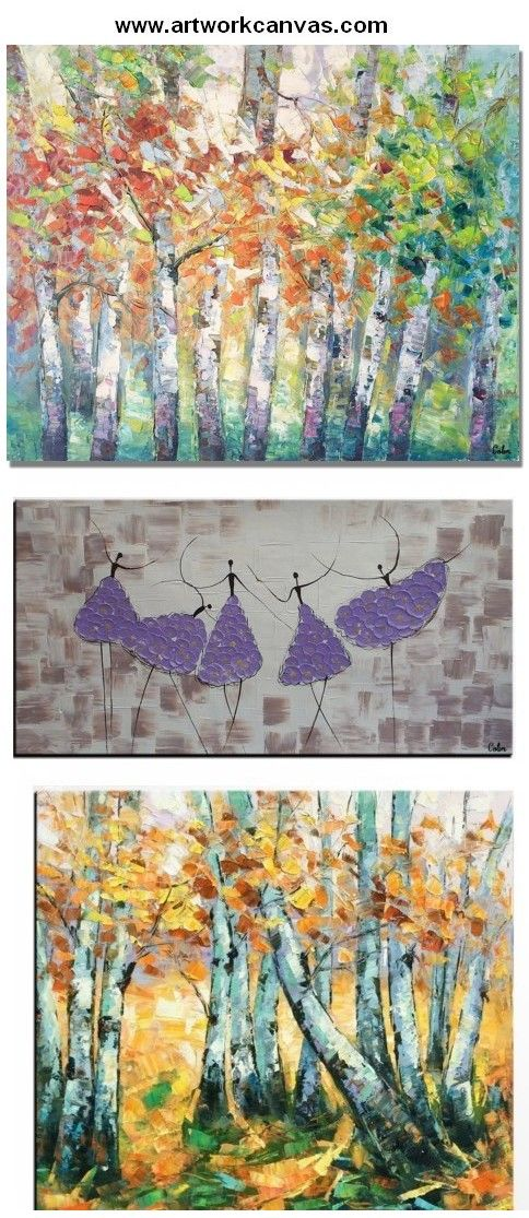 Abstract Landscape Art, Canvas Wall Art, Spring Tree Painting