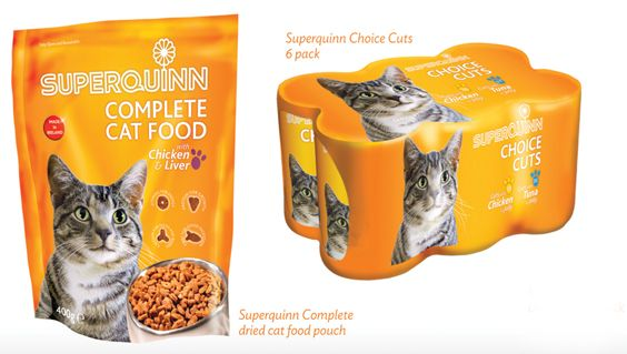 Superquinn Cat food packaging Range including Pouch Pack, Flow Wraps, Can Labels, POS units, and Dry Food Trays.