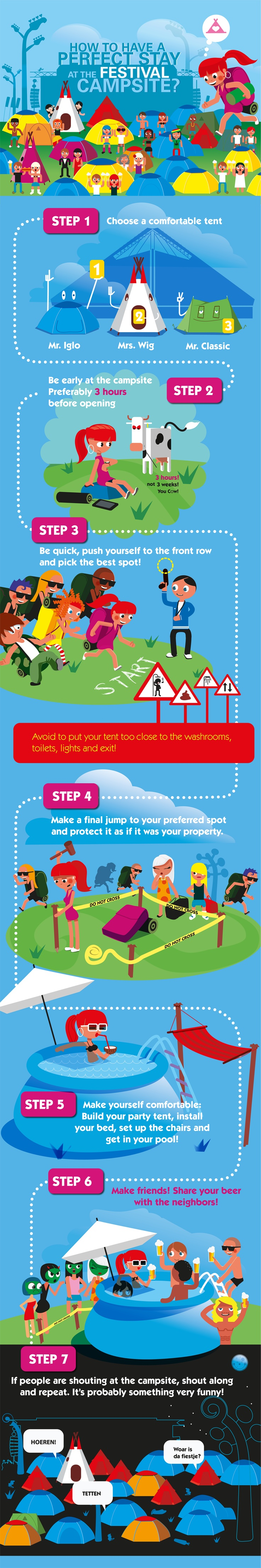 How to have a perfect stay at the festival campsite #infographic