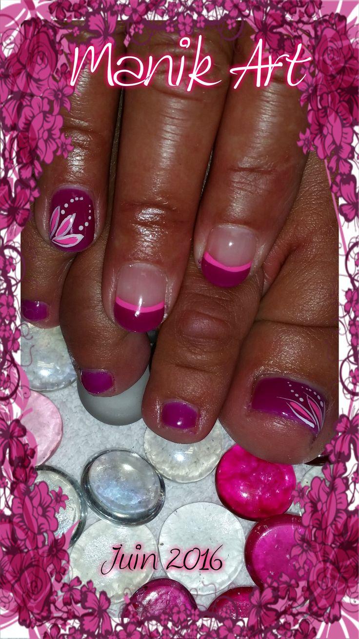 #nail #ongle #rose #mauve #fleur #summer #pink #purple #flower #nails #nailart #design #summer #été