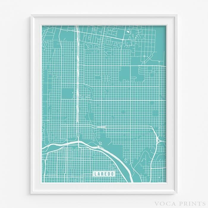 LAREDO, TEXAS Street Map Wall Art Poster. Starting at $9.90 with 42 color choices at VocaPrints.com - #streetmap #map #homedecor #wallart #LAREDO #TEXAS