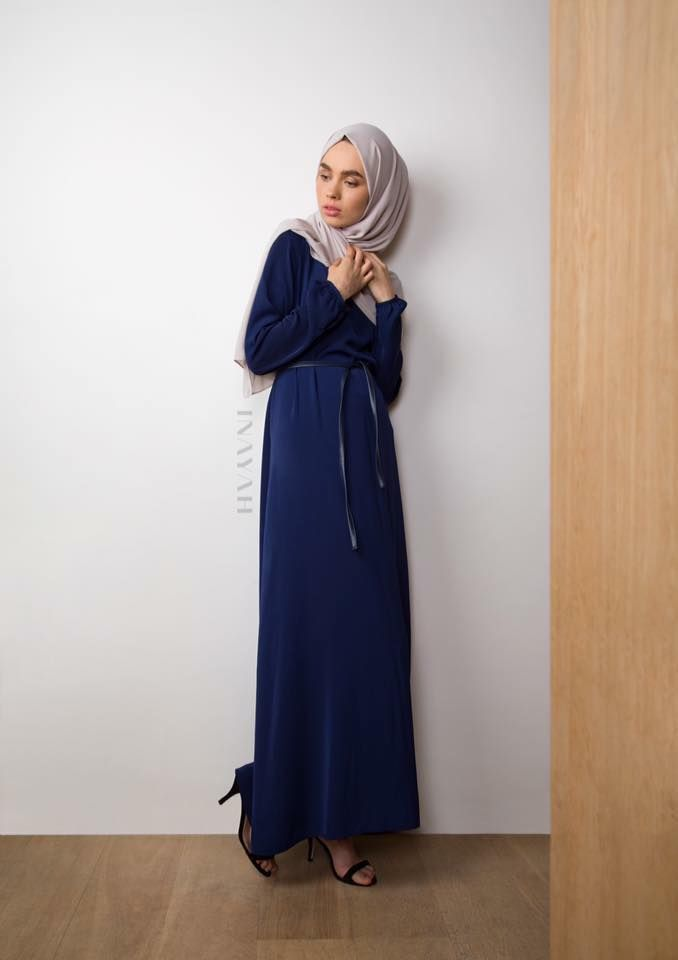 INAYAH | Navy Classic #Maxi with Belt + Feather Grey Rayon #Hijab www.inayah.co
