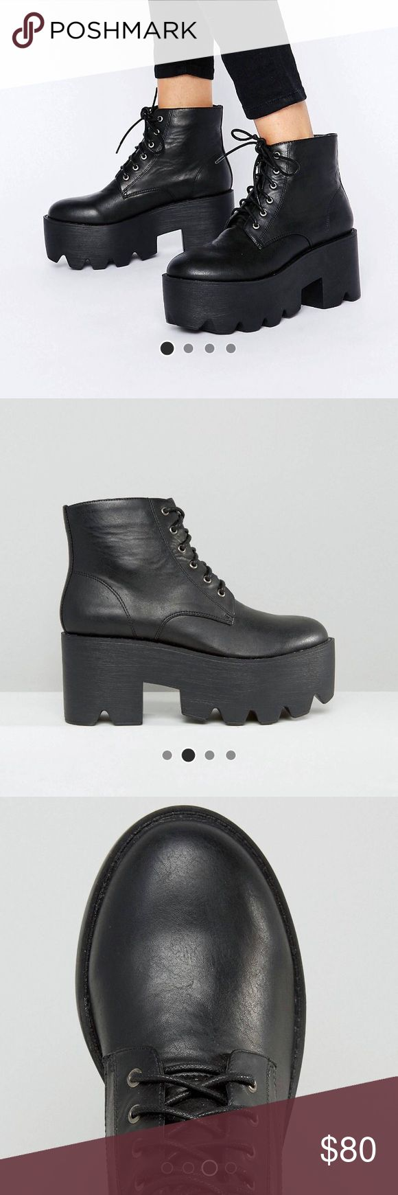 black chunky platform ankle boots BRAND NEW!! so freaking cute, absolutely brand new! they're just too small for me ):   these retail for $108!!! brand is london rebel i think  this is my lowest! and they're cheaper on merc! ASOS Shoes Ankle Boots & Booties