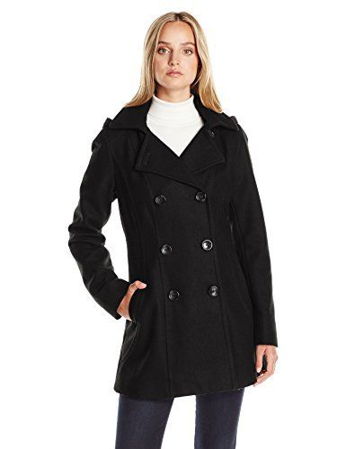 New Trending Outerwear: Nautica Womens 3/4 Hooded Peacoat, Black, XL. Nautica Women's 3/4 Hooded Peacoat, Black, XL  Special Offer: $75.00  288 Reviews Double breasted wool pea coat, 3/4 length, removable hood, in solid Melton.Flattering fitRemovable hood