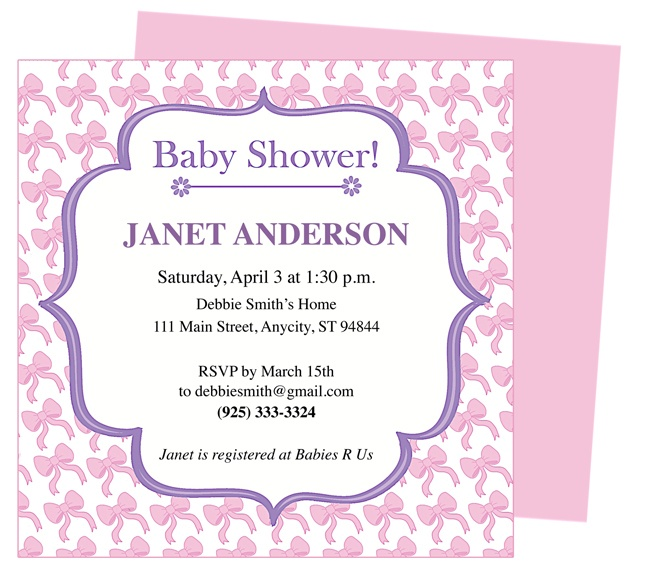 baby shower invitation templates bows inspired shower invitation template