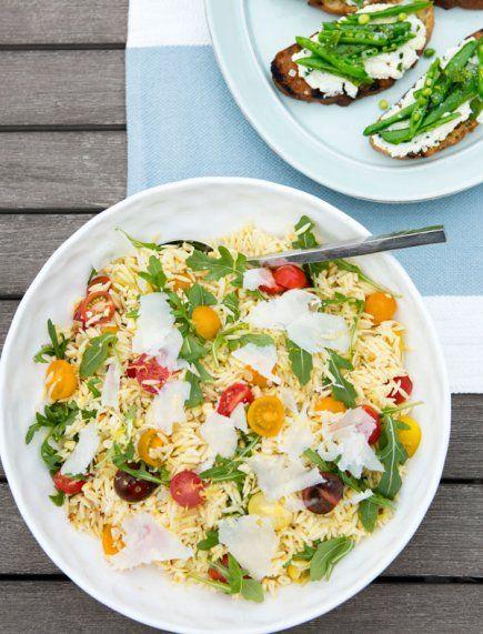 Tiffani's Orzo Salad with Corn, Arugula and Cherry Tomatoes