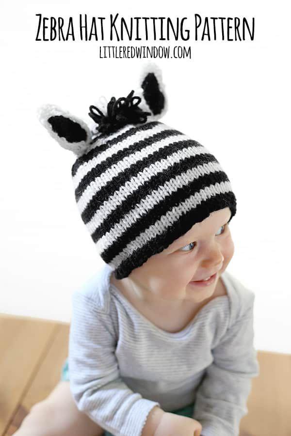 8a37d73758c Stripey Zebra Hat Knitting Pattern for babies!