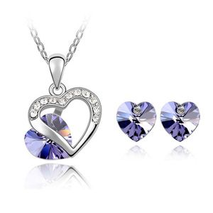 Women's Double Heart Promise Charm Pendant Necklace & Stud Earrings Set with Austrian Crystal Fashion Jewelry Gift for Girls