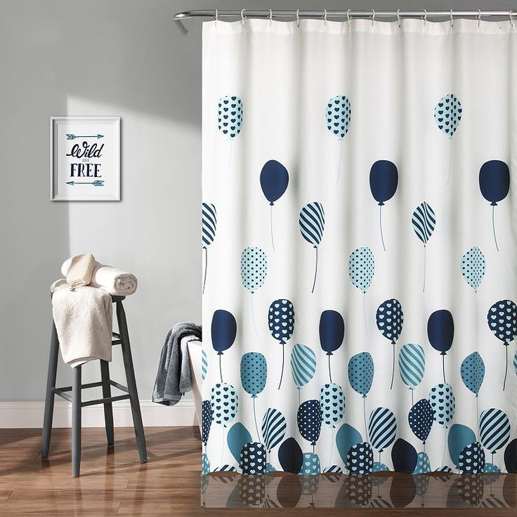 Lush Decor Flying Balloon Kid's Shower Curtain, Blue