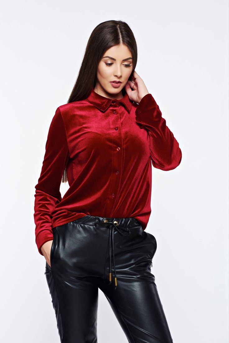 Easy cut burgundy casual velvet women`s shirt, women`s shirt, with buttons, pointed collar, long sleeves, easy cut, slightly elastic fabric, velvet