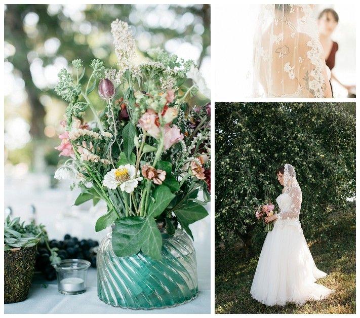 Green and wildflower centerpiece floral arrangmenet - Outdoor Idaho Wedding - Kedra Elise Photography  -  www.smitten-mag.com