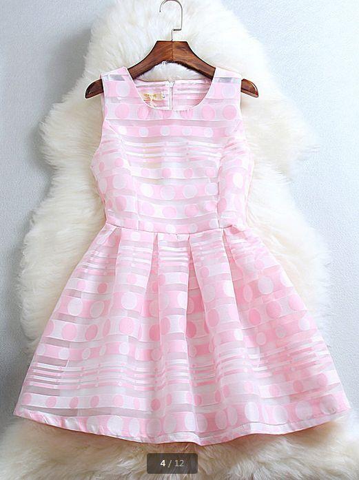 Fresh And Elegant Print Dress--Pink