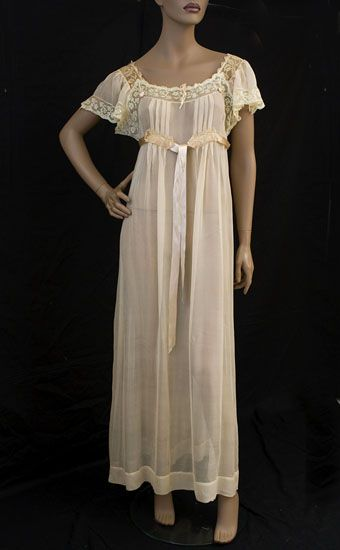 Edwardian nightgown; high waist w/ tie, lace, though transparency could be problematic