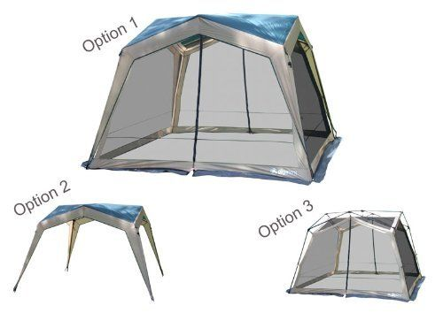 Gigatent SHT009 Dual Identity Screenhouse Canopy by Gigatent. $136.07. Size:12' x 12' The freestanding Dual Identity isthree shelters in one. The Dual Identity is the only product where the screen can also be used by itself for 360 degree views. Versatility is the biggest plus to this shelter. Two large doors make entry simple. The Dual Identity is large enough for several chairs or a picnic table. A large duffle style carry bag, stake and pole bags are as well as extra st...