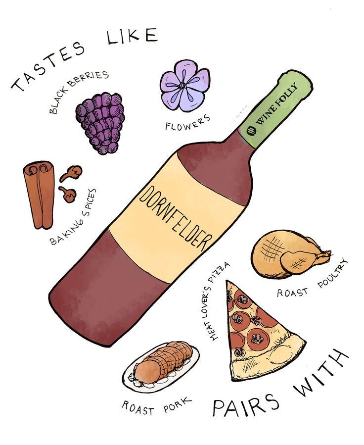 Dornfelder wine tasting notes illustration by Wine Folly