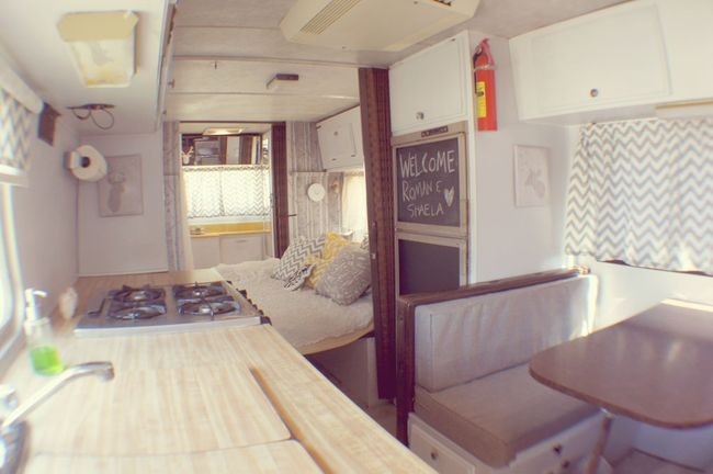 Renovated 1976 SportsCoach RV. This would be perfect for my parents when they come to visit! Haha