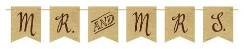 Rustic Wedding Mr. and Mrs Burlap Pennant Banner, each #ad
