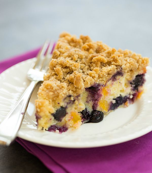 Blueberry-Peach Coffee Cake | browneyedbaker.com (I'm using strawberries instead of blueberries and peaches)