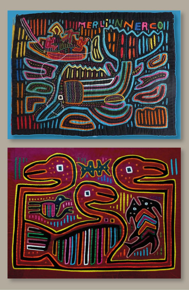 """Two original molas of Kuna indians. Their textile technique is used for blouses. It is a rich folk art presenting an enormous variety of subjects, purely geometrical patterns, sometimes in combination with animals or even whole scenes like this fishing, sometimes it is interpreting logos like """"his masters voice"""" or other brand names or posters."""