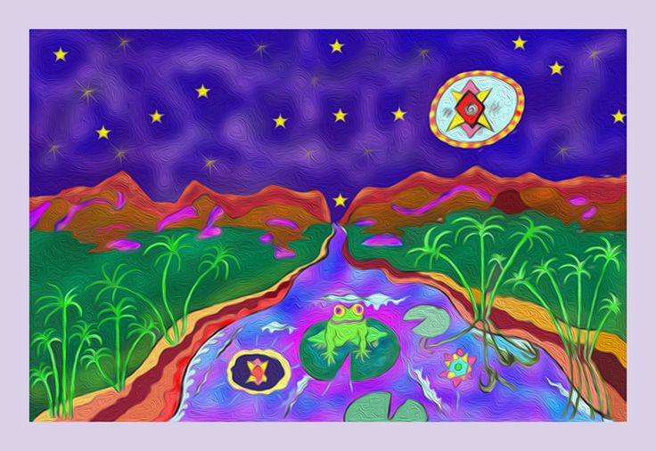 Frog on a lily pad26 cm x 17 cmLIMITED Edition Giclee Prints on fine art paperImagine a moonlit night next to a stream with papyrus reeds growing on the banks of the riverThe moon reflecting on the water surface twice Once as the moon and secondly as the ever creative wise dark source of all life on earth.Imagine the frog beings that came to the Dogon people in Mali and described to them how the planets look if you pass them on your way out when you leave earth.Frogs are symbols of…
