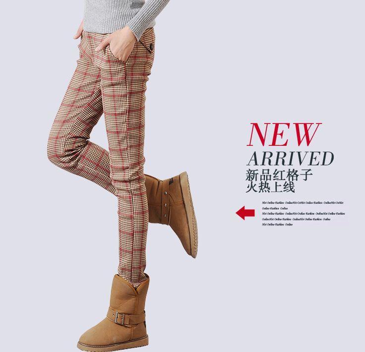 包邮 2017 Корейская версия новой самосовершенствование женщин была тонкой плюс бархат утолстить тысячи птиц выщипывал брюки брюки штаны штаны - Taobao
