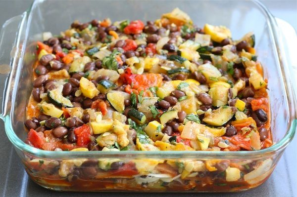 Stacked Roasted Vegetable Enchiladas on twopeasndtheirpod.com