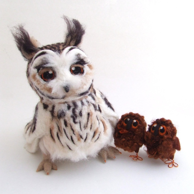 Needlefelted Long Eared Owl Life Sized Collectible Art Doll Owl. , via Etsy.