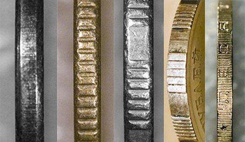 Раньше ценность монет равнялась содержащемуся в них количеству металла. Мошенники срезали кусочки металла с краёв и делали новые монеты. Решение проблемы предложил Исаак Ньютон: в краях монеты прорезали маленькие линии, и стёсанные края были сразу заметны. Эта часть на монетах оформляется таким образом и сейчас и называется гурт.