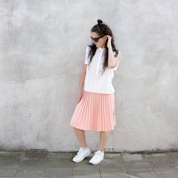 Light peach knitted pleated midi skirt soft cotton summer