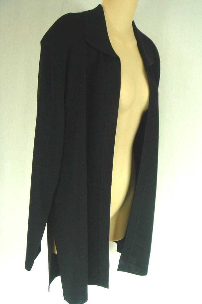 EXCLUSIVELY MISOOK Black Jacket L Acrylic Knit Open Front, Long Duster Length #EXCLUSIVELYMISOOK #Blazer