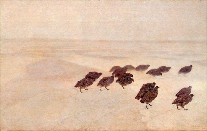 Kuropatwy na śniegu - Józef Chełmoński (1891)