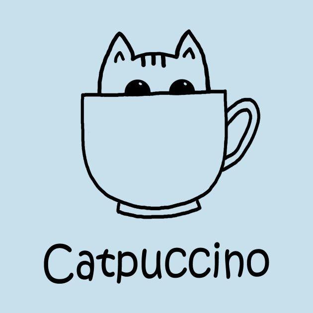 Catpuccino by PelicanAndWolf on Tee Public  #pun #tshirt #funny #foodpun #animalpun #catpuccino #cat #kitten #coffee