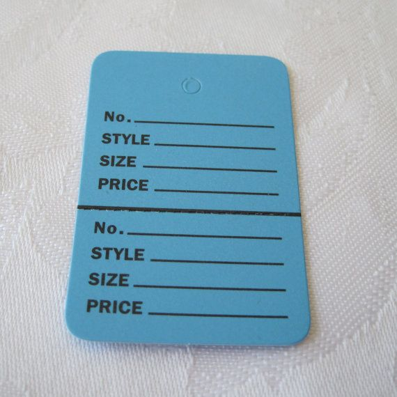 Hanging Merchandise Clothing Price Tags 1 1/4 x 1 7/8 Set of 50 Blue Hanging Tags