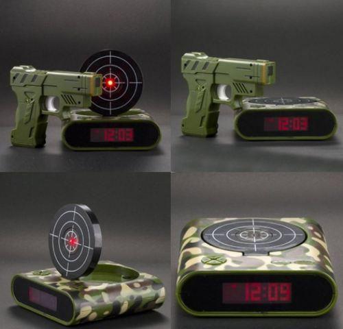 Awesome gun shoot alarm clock