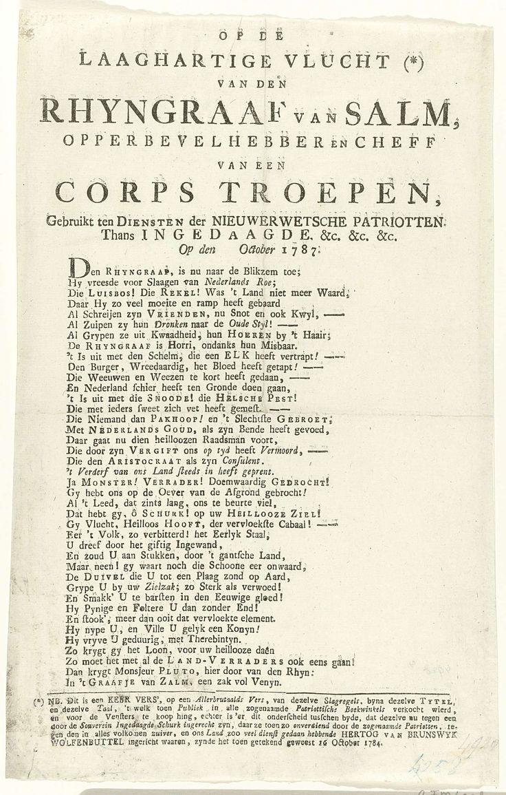 Vers op de vlucht van de Rijngraaf van Salm, 1787, anoniem, 1787