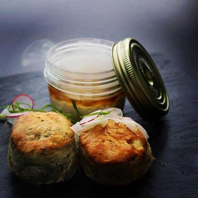 Smoked Mackerel, Jelly Eel & Seaweed Scones